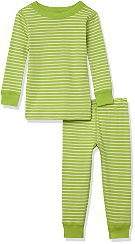 Moon and Back by Hanna Andersson Kids' 2 Piece Long Sleeve Pajama Set, Lime Green Stripe, 6-12...