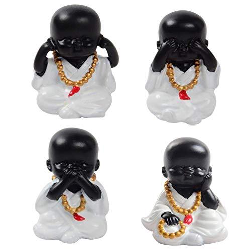 Ybzx 4 Piezas Escultura de Estatua de Monje Figura de Buda Adorno de Resina para jardín Patio Cubierta Porche Patio Oficina en casa Micro decoración de Paisaje