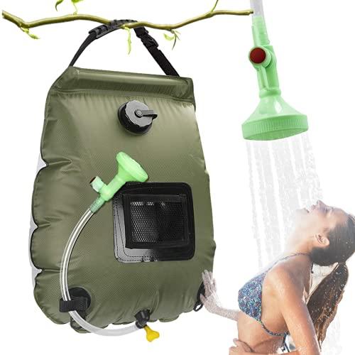 MeYuxg Doccia Campeggio,Doccia Solare Campeggio,Shower camping bag,Borsa da Portatile Doccia 5Gal(20L)con Tubo Rimovibile Soffione per Campeggio Escursionismo Trekking All'aperto Borsa da Bagno,Verde