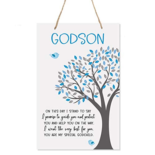 """LifeSong Milestones Baptism Christening Modern Rope Tree Sign for Son Daughter Godchild Godson Goddaughter Child First Holy Communion Gift Mother Father Godparents 8""""x 12"""" (On This Day)"""