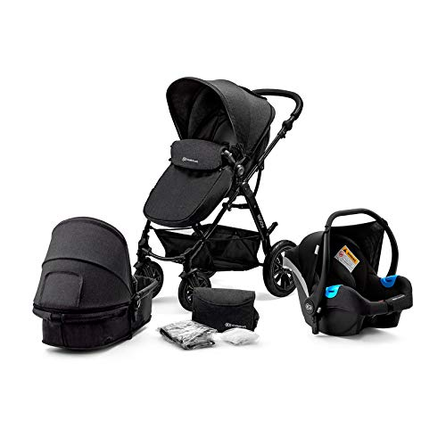 Kinderkraft Pram 3 in 1 Set MOOV, Travel System, Baby Pushchair, Buggy, Foldable, with Infant Car Seat, Accessories, Rain Cover, Footmuff, for Newborn, from Birth to 3 Years, Black