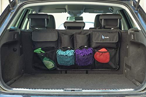 BCAuto Kofferraum Organizer Auto mit diversen Taschen   Autotasche mit Kopfstützenhalterung und 3 fach Klett auf Rückseite   Ordnungssystem für Kofferraum   platzsparende Auto Aufbewahrungstasche