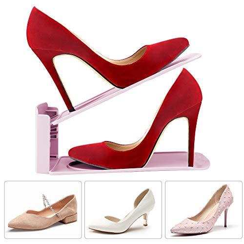 20pcs Organizadores de Zapatos Ajustables Soportes de Calzado con Ranuras Ahorra 50/% de Espacio PP 3 Niveles Altura para Calzado Deportivo Tacones Altos Zapatos Planos amzdeal