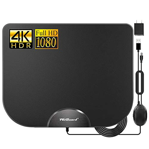 WeGuard TV Antenna - HDTV Antenna Support 4K 1080P, 90-120 Miles Range Digital Antenna for HDTV, VHF UHF Freeview Channels Antenna with Amplifier Signal Booster - 18 Ft Premium Coaxial Cable