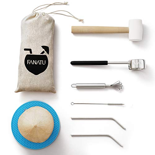 Coconut Opener Set for Young Coconut - Coconut Opener Kit by FANATU – Premium Stainless Steel Coconut Opener Tool & Strong Rubber Hammer - Straw & Brush & Silicone Mat - ALL IN ONE Carry Bag