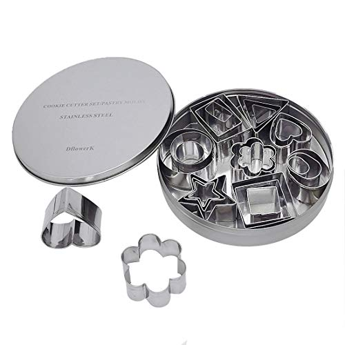 DflowerK 24 Mini Cookie Cutters Shapes Set Biscuit Cutters Stainless Steel Metal Baking Molds for Pastry Dough Donut Clay