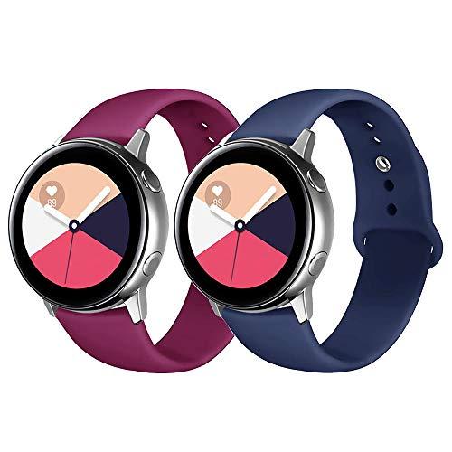 Lerxiuer - Correas Deportivas compatibles con Galaxy Watch 42 mm/Galaxy Watch Active/Gear Sport/Gear S2 20 mm Correa de Silicona Suave de Repuesto