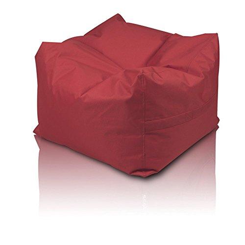 Pouf cube Polyester imperméable pour extérieur XXL 60 x 60 x 45 cm rouge
