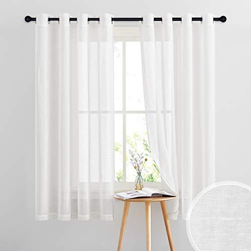 PONY DANCE Cortinas Translúcidas Dormitorio - Visillos Largos con Ojales para Salón Habitación, 2 Paneles,140 x 160 CM, Blanco