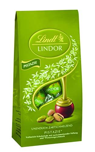 Lindt & Sprüngli Lindt Lindor Beutel Pistazie, Vollmilchschokolade mit zartschmelzender Füllung und Pistaziengeschmack, 137 g