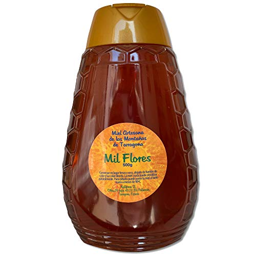 Paquete x 4 - Miel de Mil Flores - 500 gr x Botella. Miel natural, no pasteurizada ni calentada. Miel pura producida en España. Miel cruda con aroma floral y exquisito sabor.