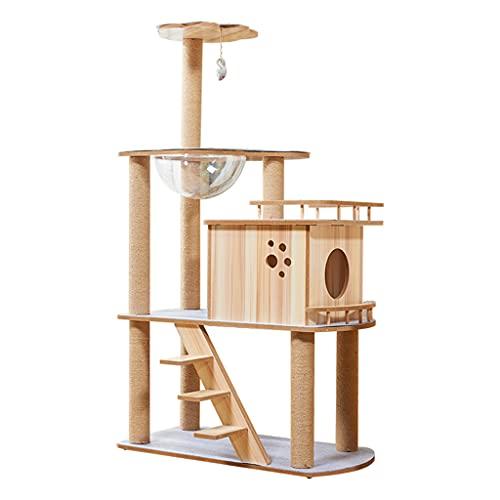 Moderno árbol para gatos, torre para gatos de 4 niveles, árbol alto para gatos, torre para gatos de varios niveles, árbol de actividades para gatos con postes rascadores de cuerda de sisal, con post
