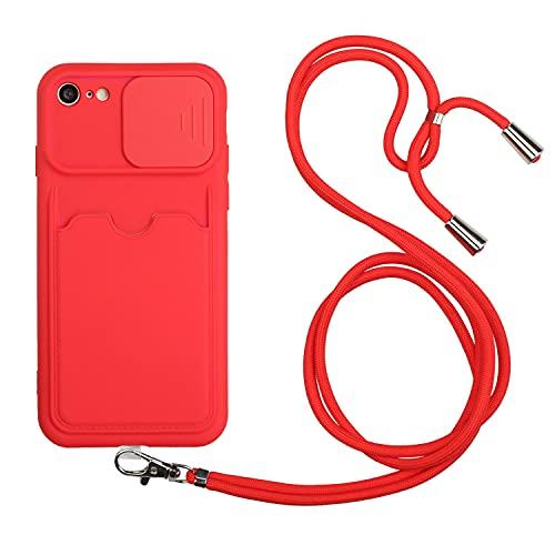 LeviDo Funda Compatible para iPhone 6 Plus/iPhone 6s Plus Silicona 3D Tarjetas TPU Bumper con Cuerda Cordon Correa Ajustable Protección de La Cámara Carcasa Case Antigolpes Resistente Cover, Rojo