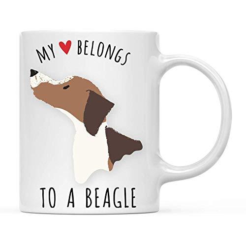 Taza té cerámica uso prolongado Dog My HeBngs To a Brown Beagle Cumpleaños Perro de Navidad Taza bebida café Regalo