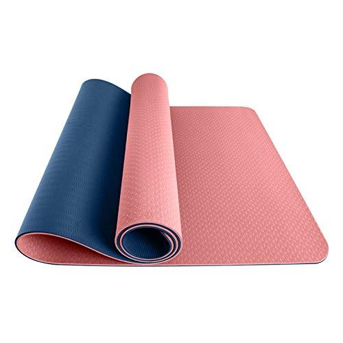Gesh Esterilla de yoga de 6 mm de TPE antideslizante, respetuosa con el medio ambiente, antideslizante y gruesa para principiantes (rosa + azul)
