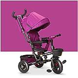 HBSC Triciclo Infantil de bebé Plegable, Asiento Giratorio 360 ° Varilla de Empuje y toldo extraíble Rueda de Goma con Embrague y Freno, Apto para 1-6 años, 6 Colores 1safe Y Confort Purple
