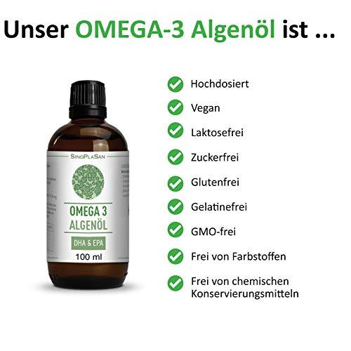 Omega 3 Algenöl, 998mg DHA & 535mg EPA pro 2.5ml, vegan, JETZT MIT TROPFER & allen ANALYSEN, 100 ml - 6