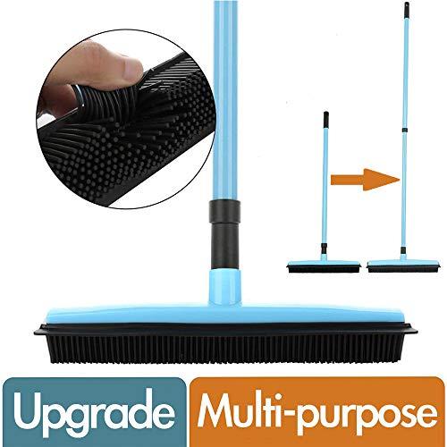 MG+ Escoba con limpiacristales y peine de pelusa, hecha de goma natural, multisuperficie y eliminación de pelo de mascotas, mango telescópico que se extiende de 73.8-124CM (Azul)