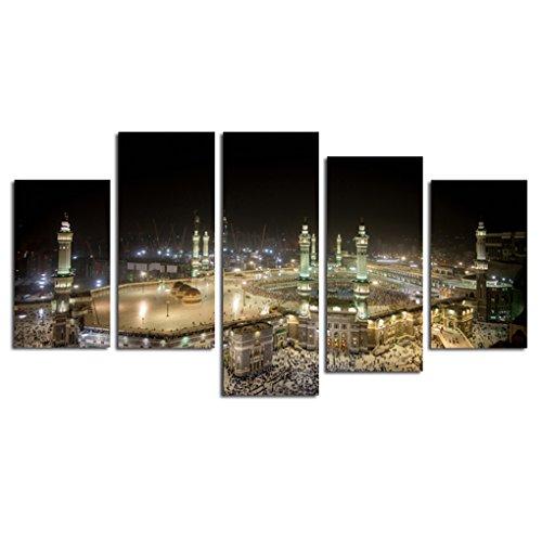 Rekkles 5 Paneles al óleo del Paisaje Sagrado islámico Pintura Arquitectura Religiosa Musulmana Cuadro de la Pared del Cartel de la Sala de Estar