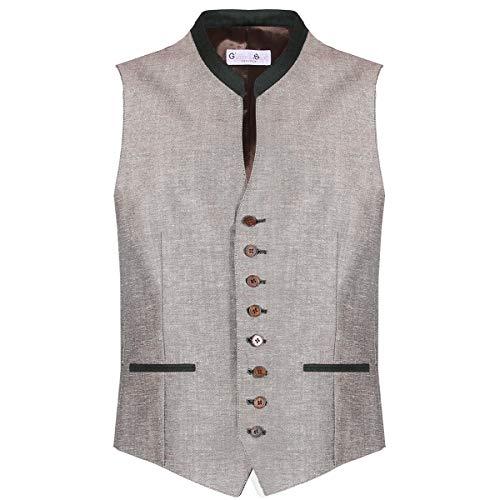 Gweih und Silk Herren Trachten-Mode Trachtenweste Chris in Beige traditionell, Größe:XL, Farbe:Beige