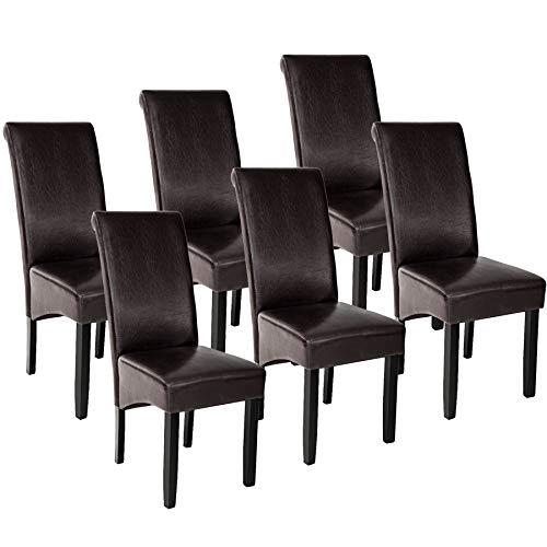 TecTake 6er Set Esszimmerstuhl Kunstleder Stuhl mit hoher Rückenlehne, ergonomische Form, Stuhlbeine aus Hartholz massiv, 106 cm hoch - Diverse Farben - (Braun | Nr. 403497)