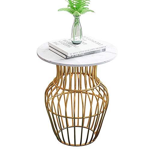 Home&Selected fineer/tafel van marmer, voor woonkamer, hoekbank, tafel, rond, nachtkastje, balkon, salontafel, 17,7 inch, 21,6 inch (kleur: zwart) Wit