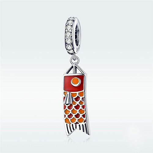 DFHTR Pulsera con Forma De Cuentas Huecas Original Plata De Ley 925 Bandera De Pez Charm S925 Cuentas De Carpa para Mujer Colgante Collar Cadena