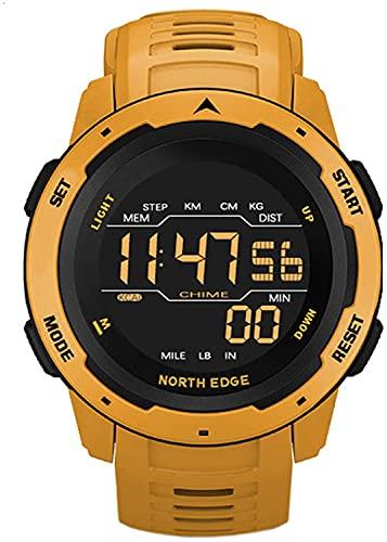 ZFAYFMA Reloj inteligente de los hombres Temperatura Fitness Ritmo cardíaco 50 M impermeable cinturón silicona reloj deportivo lujo automático digital podómetro despertador amarillo