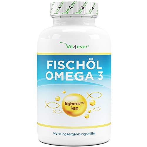 Omega 3 Fischöl Triglycerid-Form - 420 Kapseln - 1000mg Fischöl je Kapsel und den Omega 3 Fettsäuren EPA und DHA - Laborgeprüft - Nachhaltiger Fischfang - Hohe Reinheit