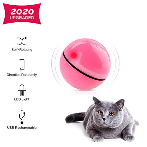 Interactive Cat Toys Ball Best Smart Cat Interactive Toys Automatic Self-Rotating and USB Rechargeable LED Light Cat Electronic Toy Ball for Indoor Cats Kitten Exercise Toys