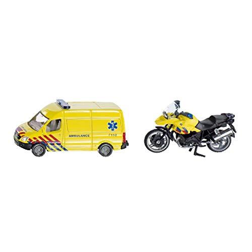 siku 1654003, Rettungsdienst-Set Niederlande, Metall/Kunststoff, Gelb, Spielkombination, mit Anhängerkupplung