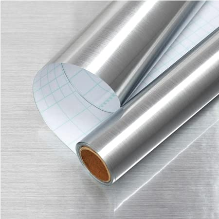Gleom Silver Stainless Steel Contact Paper Metal Surface Glossy Paper Self...