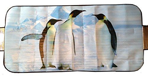 Best-Accessoires4All Neve Protezione Matte Frost Protezione Matte Auto fronz Auto Parabrezza Anti Ghiaccio Neve per Gelo Alluminio Rivestito (Motivo Pinguino)