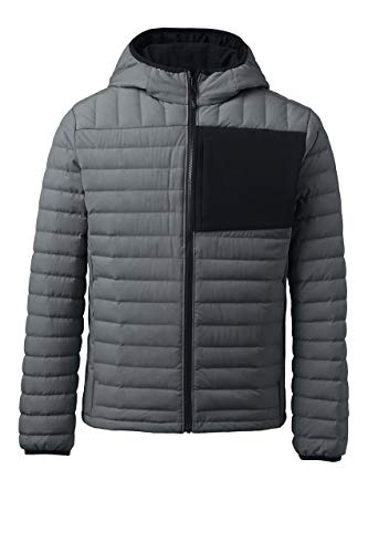 Lands' End Mens 800 Down Hooded Jacket Warm Graphite Tall XX-Large
