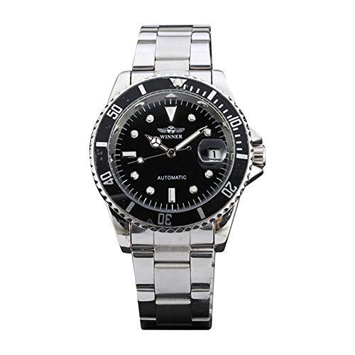 Cloudbox Reloj mecánico - reloj automático masculino de moda correa de acero inoxidable reloj de pulsera redondo para hombres