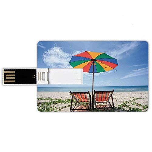 16G USB Flash Drives Forma de tarjeta de crédito Seaside Memory Stick Estilo de tarjeta bancaria Par de sillas y coloridos paraguas en la playa Seaside Holiday Travel Image, Pluma impermeable multicol