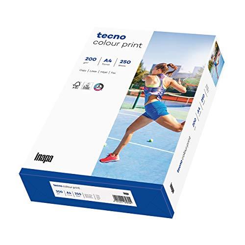 inapa Druckerpapier, Laserpapier tecno Colour Print: 200 g/m², A4, 250 Blatt, glatt, weiß – für brillante Farben