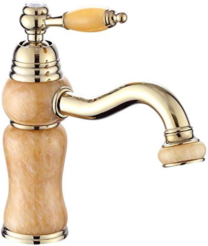Taps Yzerel Waschtischmischer Wasserhhne Wasserhahn Becken Wasserhahn,Kunstbecken Hei Und Kalt Erhabener Goldener Jadehahn