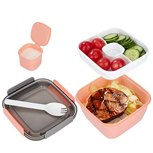 QH-Shop Caja de Almuerzo con Cubiertos Fiambreras Bento Niños para Microondas Caja de Bento a Prueba De Fugas para Colegio Trabaja Picnic Viaje Rosa