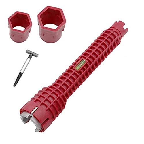 xianghaoshun Llaves Ajustables, Herramienta Multifuncional para Llave de Grifo 8 en 1, Herramienta de instalación de Grifo y Fregadero, instalador de Grifo y Fregadero, Llave de Tubo de Agua roja