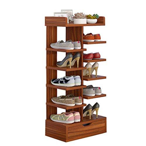 HEWEI Schoenenkast, meerdere lagen, voor pantoffels, plank, plank van MDF-hout, stabiel, met lade, ruimtebesparend, bruin (40 cm breed)