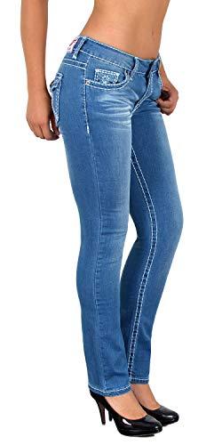 ESRA Damen Jeans Hose Straight Leg Damen Jeanshose Dicke Naht viele Farben bis Übergröße J540