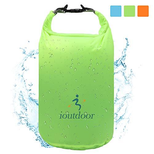 iOutdoor Products Borsa Impermeabile 2L/5L/10L/15L/20L/30L, Sacco a Compressione Dry Roll Top, Perfetto per Kayak/Canottaggio/Spiaggia/Pesca/Rafting/Nuoto/Camping/Snowboard (Green, 5L)