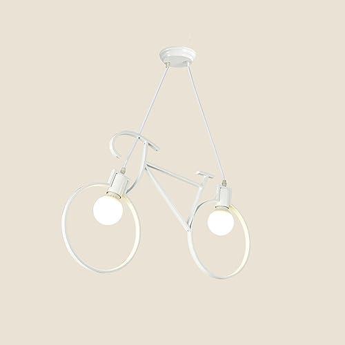 WSXXN Nordic personnalisé en fer forgé lustre Creative vélo Bar Cafe Suspendu Lampe Américain Minimaliste Corridor Allée Art lumières (Couleur   Blanc)