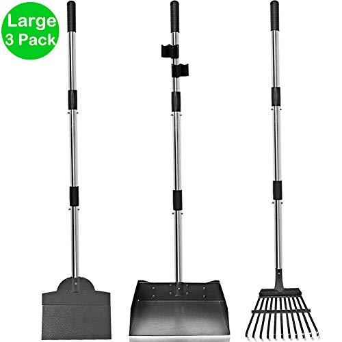 Upgraded Dog Pooper Scooper for Large Dogs, 3 Pack Adjustable Long Handle Metal Tray, Rake and Spade Poop Scoop with Bin for Pet Waste Removal, No Bending Clean Up for Medium and Large Dogs