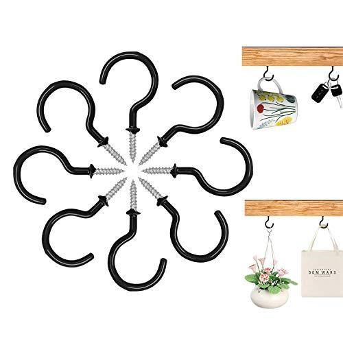 15 Pcs Ceiling Hooks Screw Hooks-2 inches Steel Vinyl Cup Hooks-OakMethod Screw-in Hooks for Hanging Light String, Coffee/Tea Cups, Plants, Wind Chimes and Mugs. (Black)
