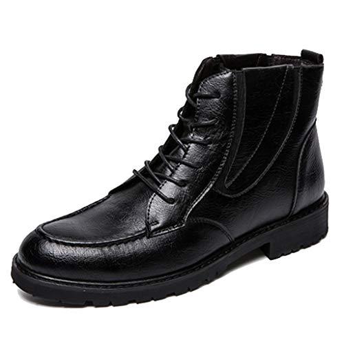 AMDRS heren laarzen van leer met taille en laarzen, met rode punt en vetersluiting