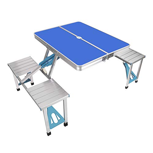 AHB Portable Folding Camping Picnic Table with Seats Chairs and Umbrella Hole, Lightweight Compact Aluminum Camping Suitcase Table for Indoor Outdoor