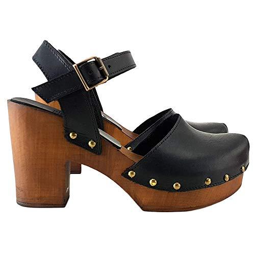 Kiara Shoes Zoccoli Svedesi in Cuoio Marrore/Nero Made in Italy - MY-126 (41 EU, Nero)
