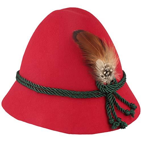 Hoed Brede originele kinderhoed | vilten hoed | klederdrachthoed van 100% wol – met 2-vaks zijden koord & kleine veer voor meisjes en jongens